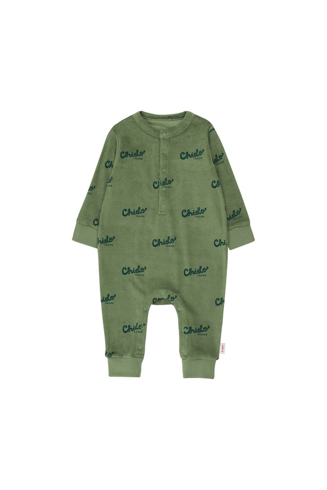 《TINYCOTTONS 2019AW》CHIDO ONE-PIECE / green wood × bottle green / 6M