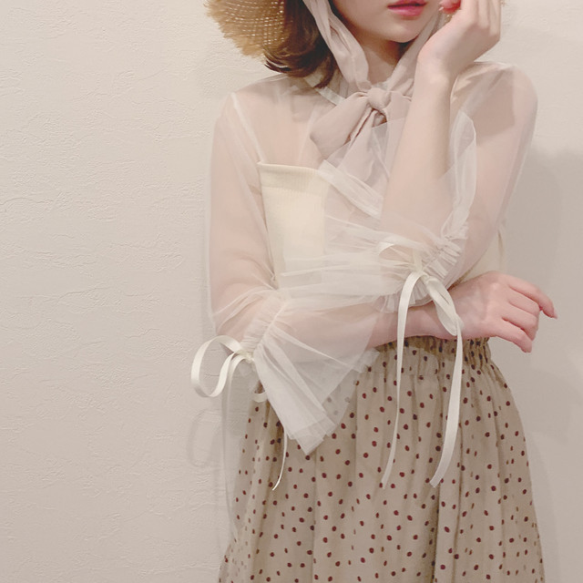 rib tulle ribbon tops (S19-01042K)