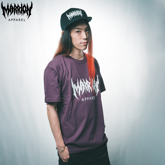 【Cotton100%】MARRION APPAREL LOGO Tee  (マットパープル×白)