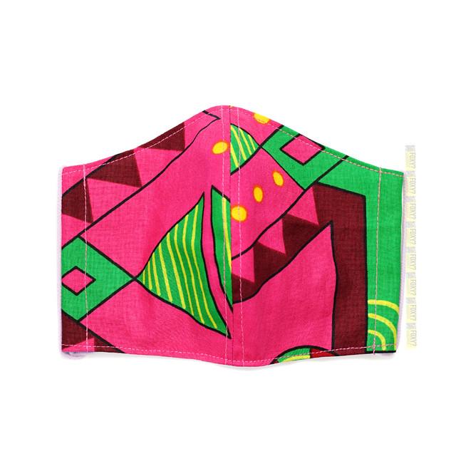 M27/アフリカ布のマスク★綿+麻100% 接触冷感 アイスコットン襦袢生地