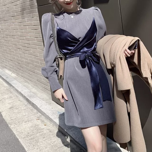エレガント デザイン ベルベット リボン ワンピース 2色 B5216【12/7まで30%OFF!!】