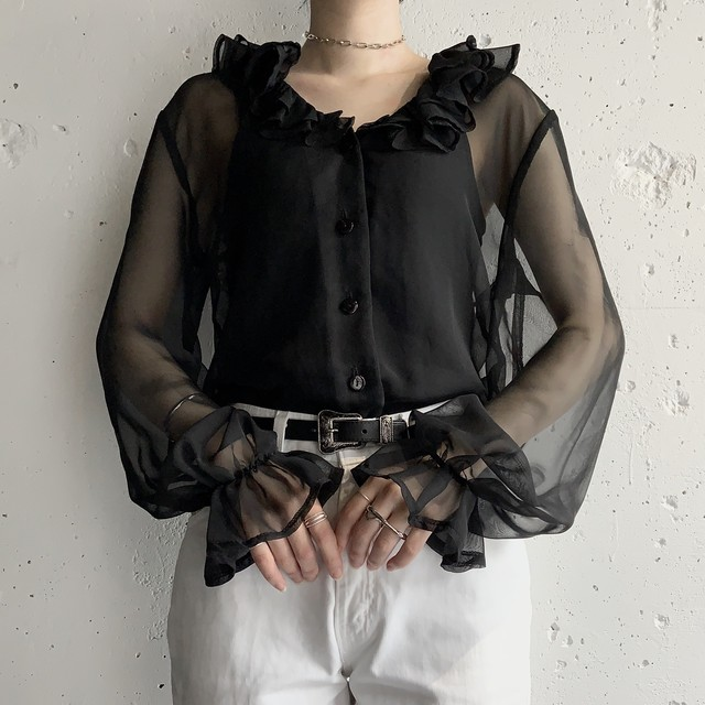 made in usa vintage sheer blouse