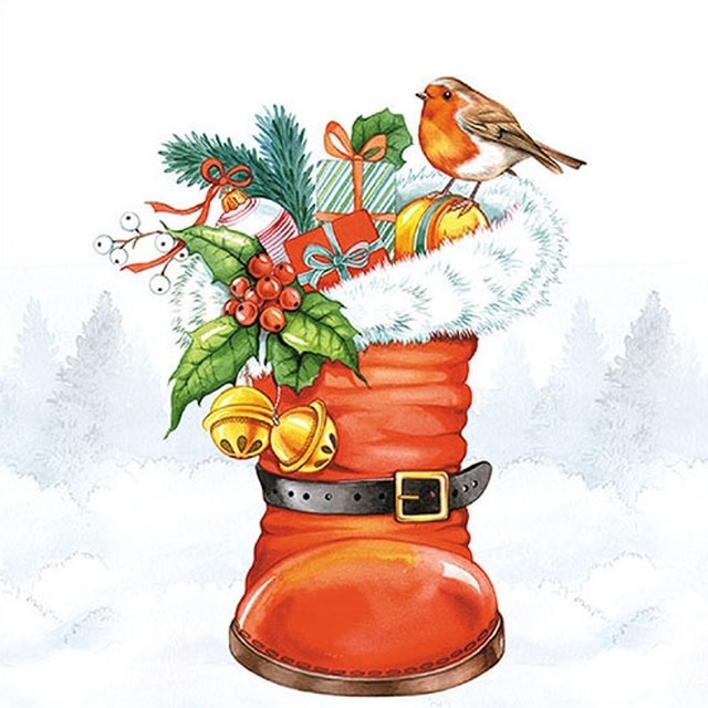 【Ambiente】バラ売り2枚 ランチサイズ ペーパーナプキン Christmas Boot ホワイト