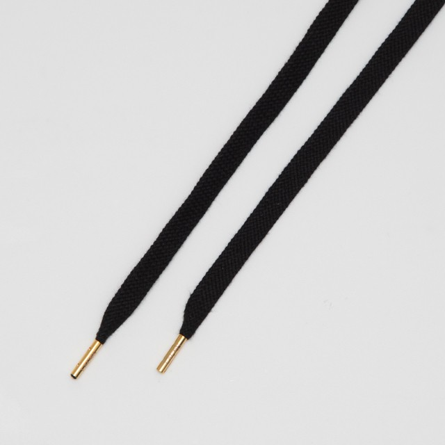 "FLAT LACES COTTON SOLID/METAL TIP ""BLACK/METAL GOLD"""