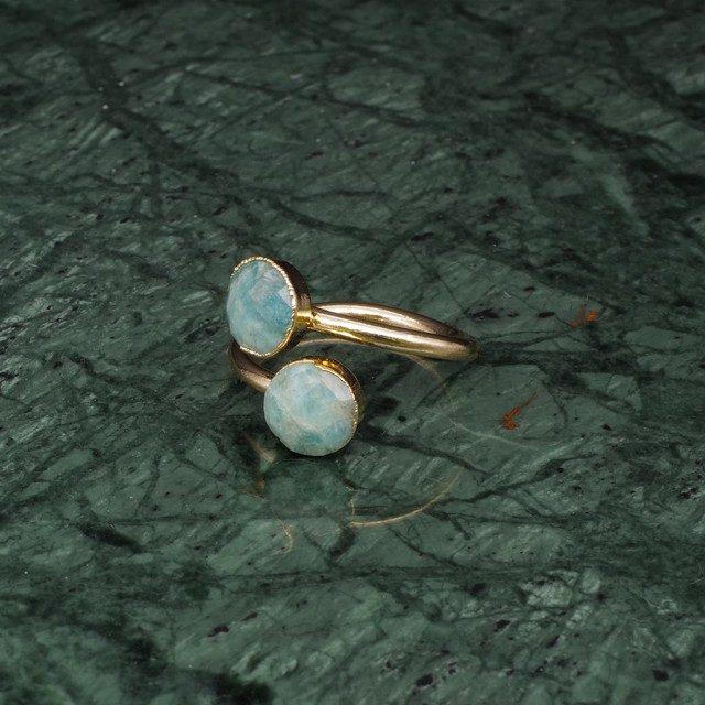 DOUBLE STONE OPEN RING GOLD 028
