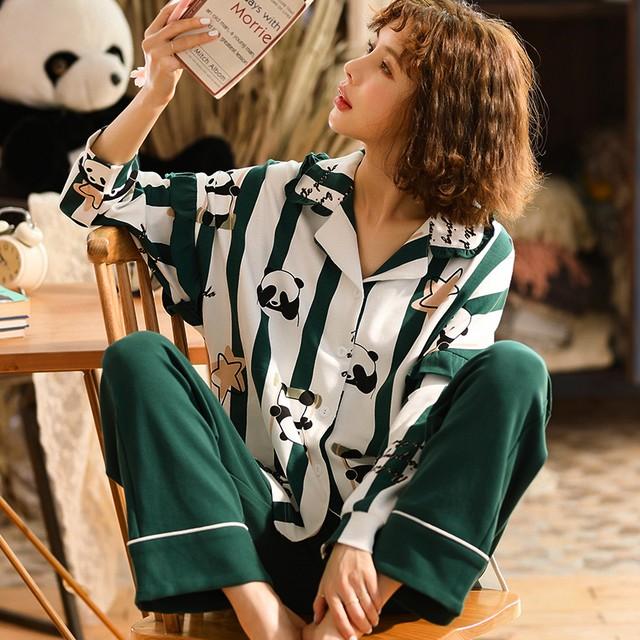 【惜梦妮シリーズ】★チャイナ風パジャマ★ セットアップ トップス+ズボンコットン M L LL 3L 4L パンダ模様