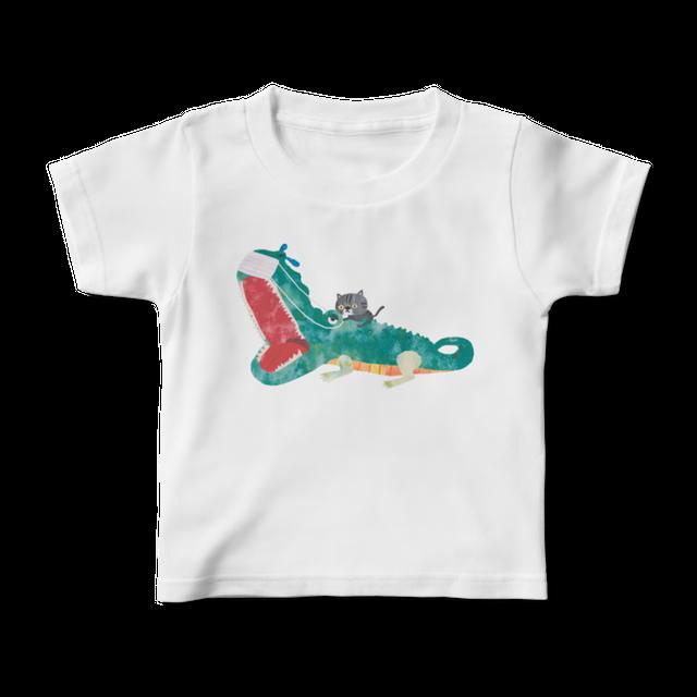 前面プリントイラストキッズTシャツ 『くしゃみがとまらないワニ』