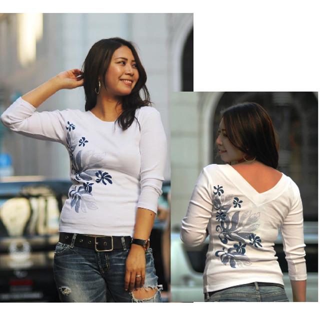 APPLE HOUSE / ZA TOKYO  100%made in Japan.人気No.1 !  ハワイアンデザインの八分袖Tシャツ(ティアレonモンステラ) No.134287