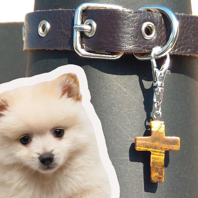 タイガーアイクロス:犬用首輪チャーム
