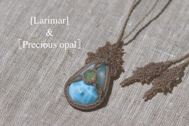 [Larimar]&[Precious opal] Pendant〜Flor〜