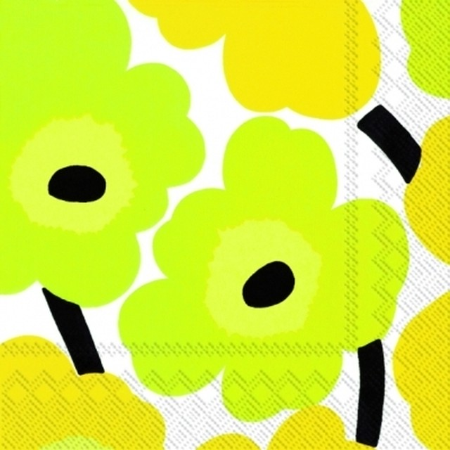 【marimekko】バラ売り2枚 カクテルサイズ ペーパーナプキン UNIKKO ホワイト×イエロー