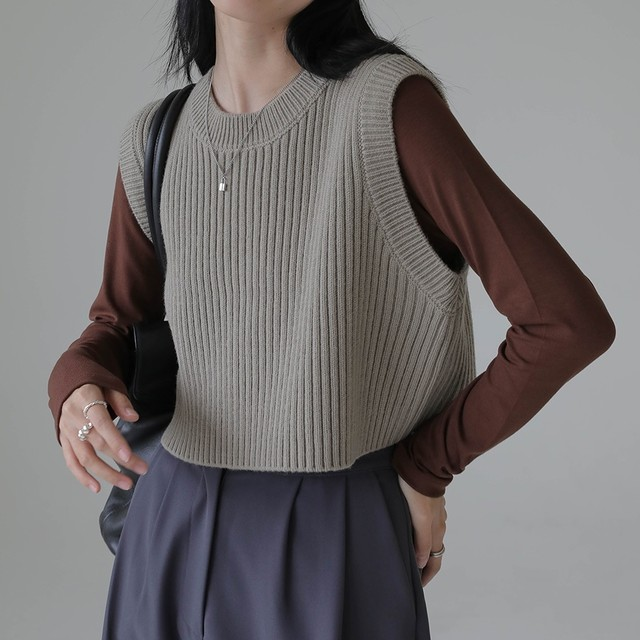 Short knit vest( ショートニットベスト)b-427