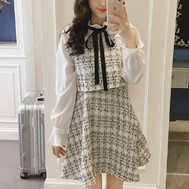 【dress】セレブリティリボン結び重ね着風ワンピース