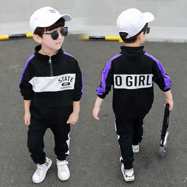 【セット】ファッション子供服プリント切り替え長袖男の子二点セット25047048