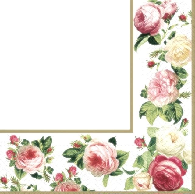 【TETE a TETE】バラ売り2枚 ランチサイズ ペーパーナプキンROSY FRAME ホワイト