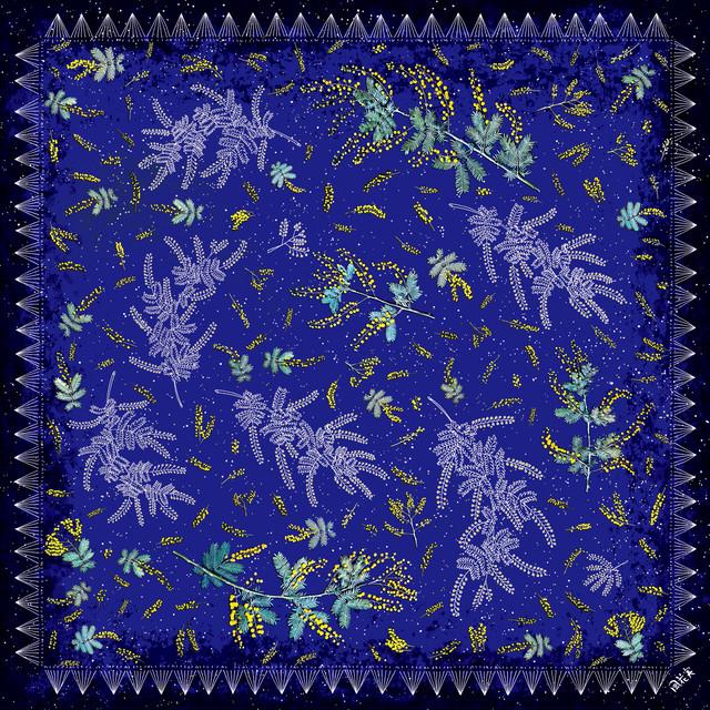 シフォンスカーフ[ミモザの星降る夜に]ブルー