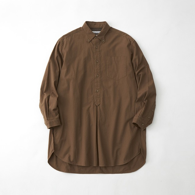 SEERSUCKER LONG PULLOVER SHIRT - BROWN