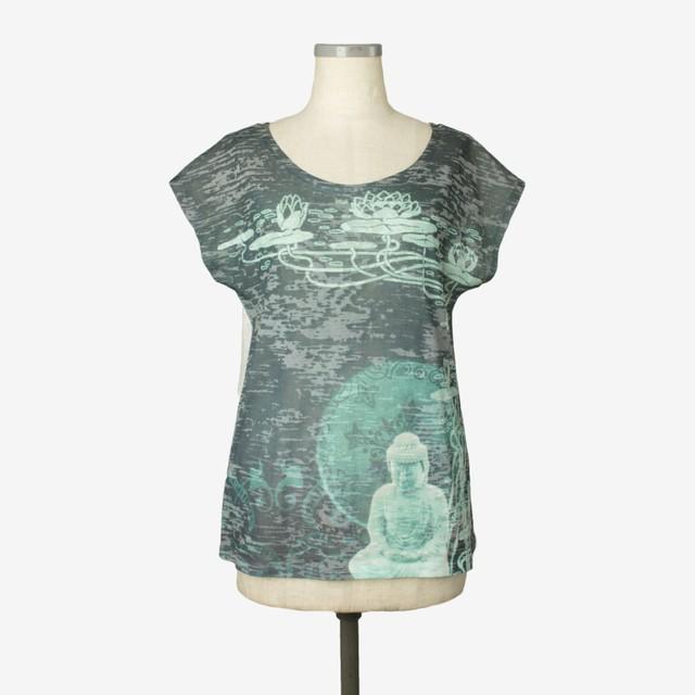 プリントヘザーTシャツ ブッダ Print heather T-shirt Buddha