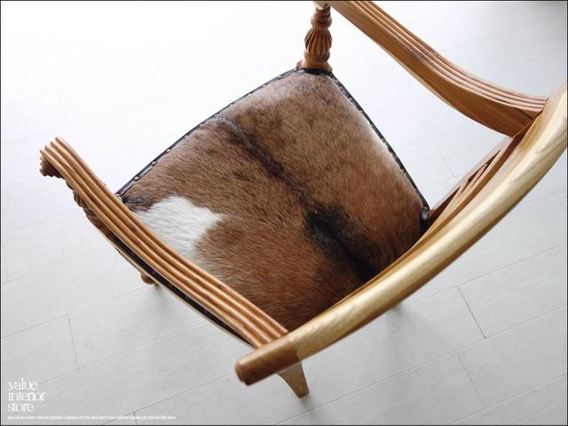 チークレザーアームチェアNAC イス 椅子 チェアー ハラコ 毛皮張り 手作り 本皮 肘掛け椅子 銘木 総無垢 天然木 新品 ナチュラル 送料無料