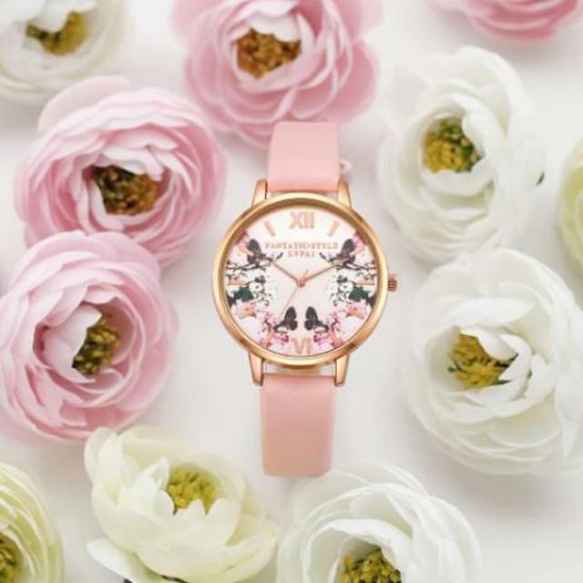 春色 レディース 腕時計 花 フラワー 蝶 ラウンド ドレスウォッチ ピンク レザー ブレスレットウォッチ クォーツ 高級 Lynn-11-pink