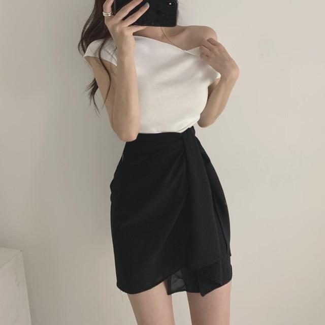 【set】【単品注文】ファッション韓国系スリムワンショルダー無地Tシャツ/不規則スカート