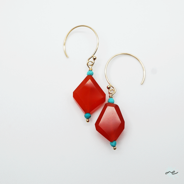 Carnelian Earrings/14KGF