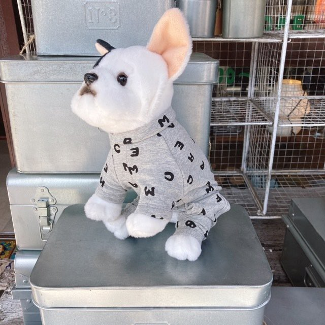 DOG WEAR アルファベットロンパース グレー