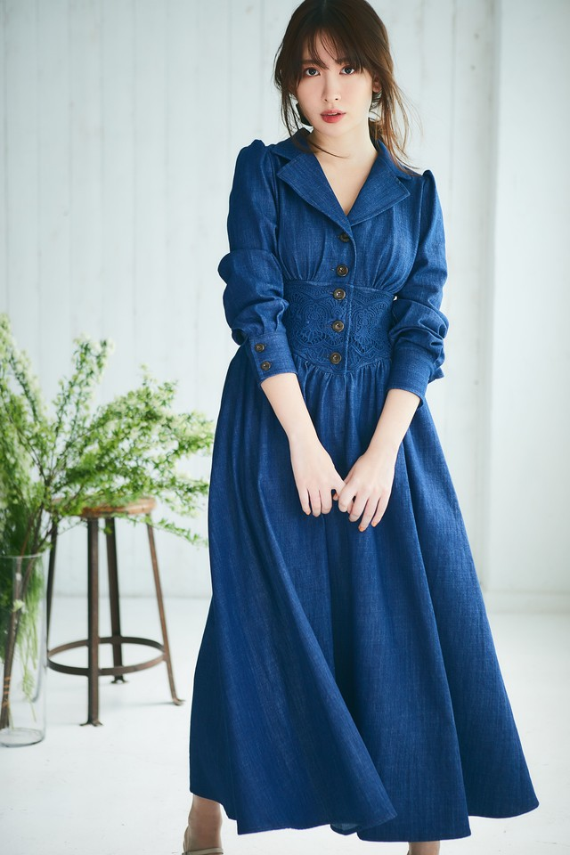 Lace Belted Denim Dress