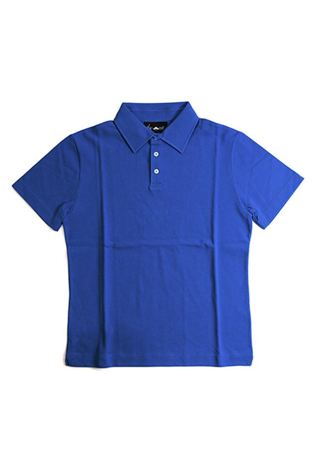 《Made in France》オリジナル 半袖 鹿の子ポロシャツ 3つ釦 〈ロイヤル〉
