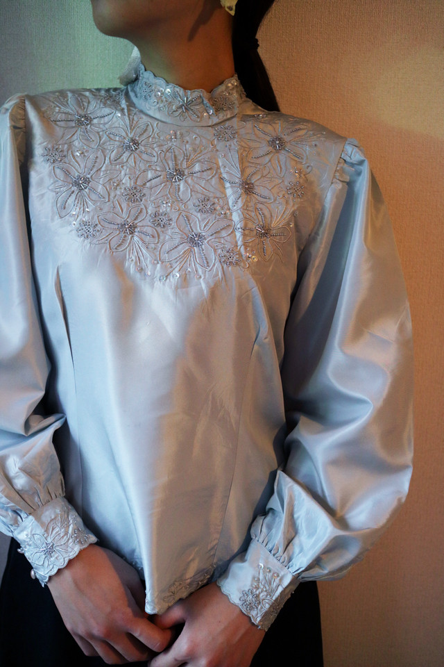 MYSTIC stand collar blouse