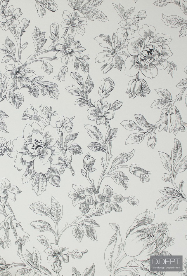 輸入壁紙【D.DEPT. ディーデプト/ ESTAhome】127625 花柄イラスト 白黒 モノトーン フリース