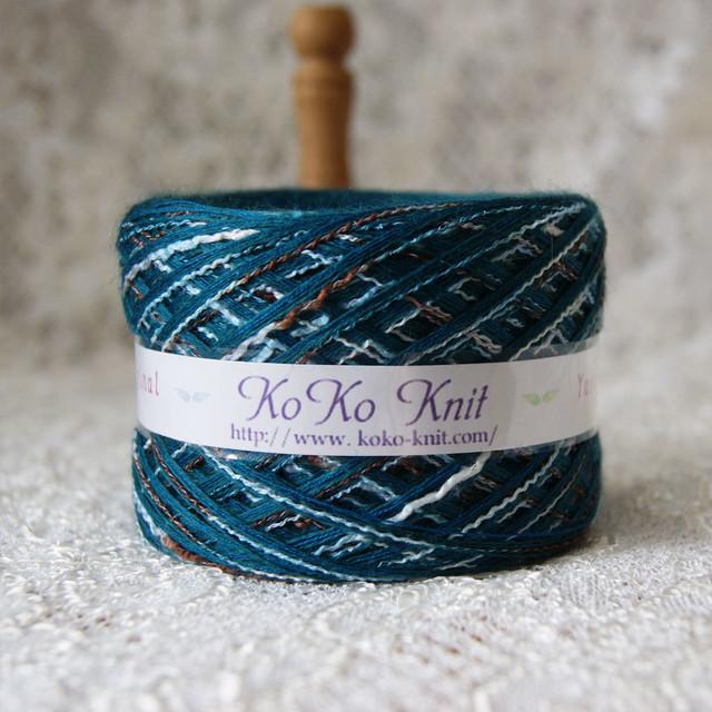 §koko§ for you~落ち着いたグリーンに段染め メンズにも  1玉74g以上  ウール 段染め 引き揃え 毛糸 オリジナル糸 ブラック(026)