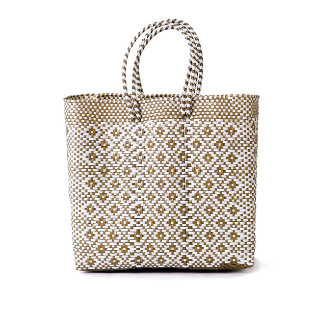MERCADO BAG ROMBO - White x Gold(M)