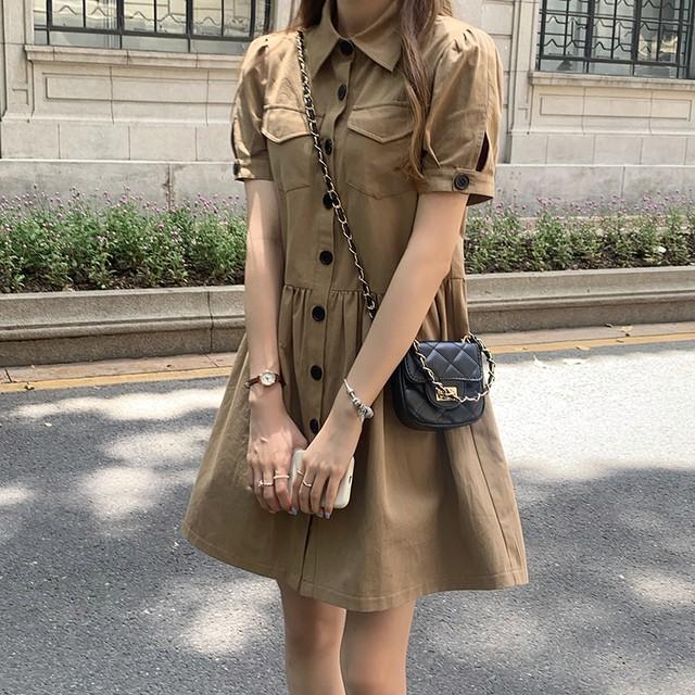 【送料無料】ふんわり♪シャツワンピ♡ワンピース シンプル ふんわりシルエット 半袖 可愛い デート 女子会