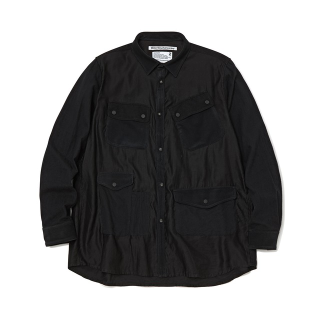 MIXED FABRIC HUNTING SHIRT - BLACK