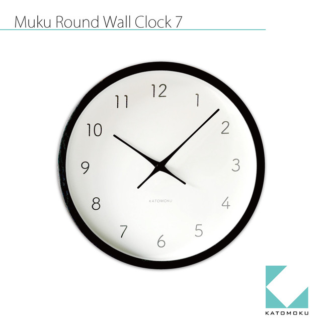 KATOMOKU muku round wall clock 7 km-60BLRC 電波時計 ブラック