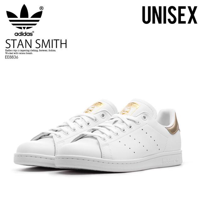 adidas (アディダス) EE8836 STAN SMITH W (スタン スミス) メンズ レディース スニーカー FTWWHT/FTWWHT/GOLDMT (ホワイト/ゴールド)