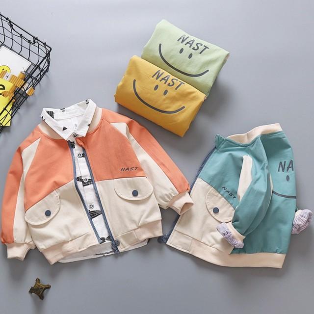【アウター】カジュアル切り替えジッパー配色ジャケット27375277