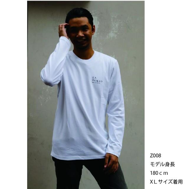 ZA TOKYO 長袖クルーネック  ワンポイント・ロゴプリントTシャツ Z008