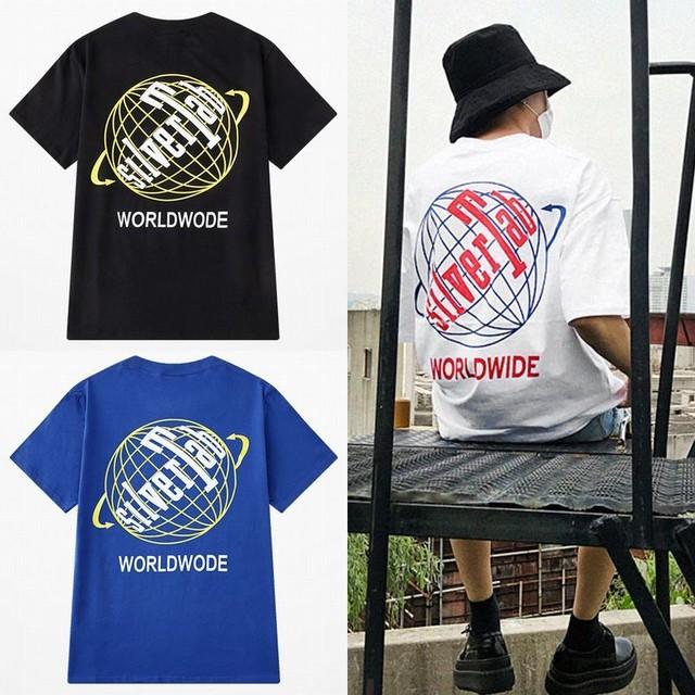 ユニセックス 半袖 Tシャツ メンズ レディース silver Tab 地球 プリント オーバーサイズ 大きいサイズ ルーズ ストリート TBN-614019489107