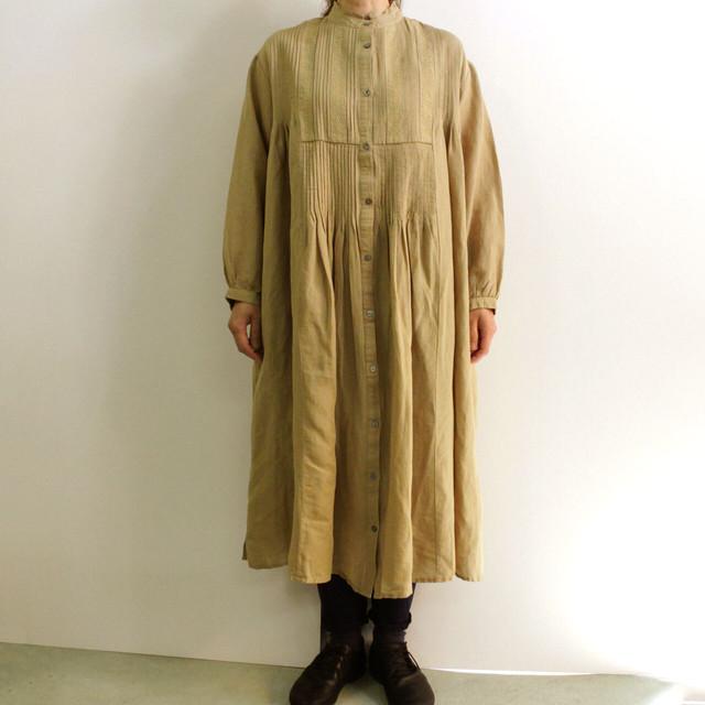 YARRA (ヤラ) YR-201-041 ピンタック&刺繍 綿麻 前開きワンピース