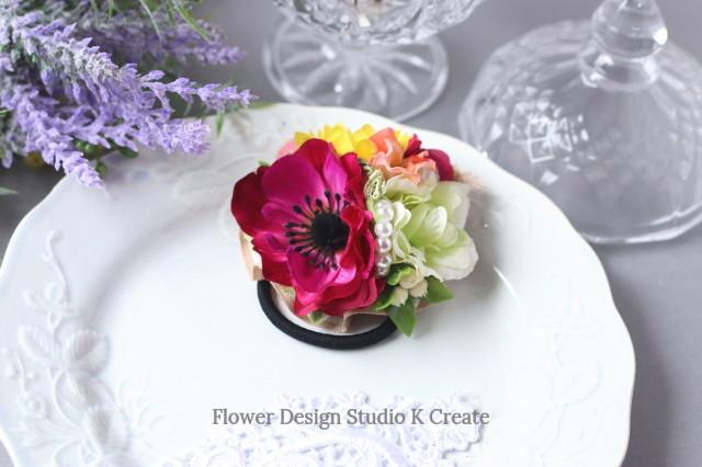 ローズピンクのアネモネと向日葵のヘアゴム お花 ヘアゴム ヒマワリ ひまわり ヘアゴム パール 髪飾り