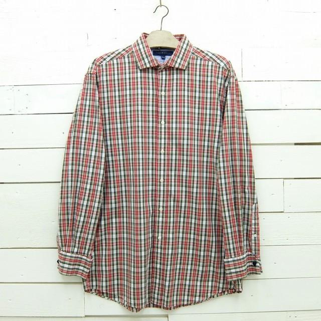 Tommy Hilfiger トミーヒルフィガー ホリゾンタルカラー チェックシャツ ダブルカフス メンズ Lサイズ相当
