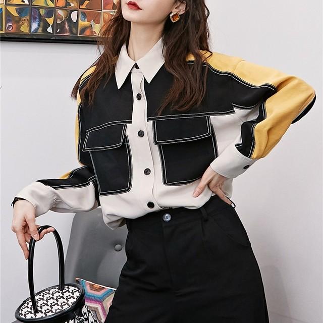 コントラストカラー ロングシャツ B201213