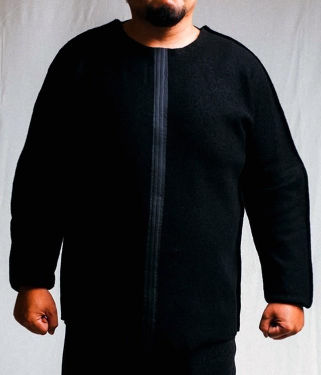 BARBALA ALAN - Wool jersey nylon strip top(oversized) - 1889 TJ021