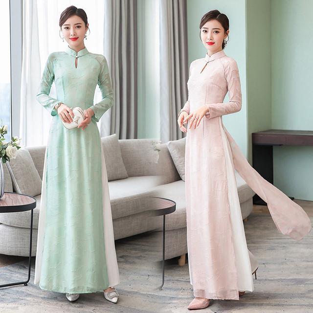 アオザイ ベトナム 民族風 ロングドレス 二次会 お呼ばれ グリーン ピンク 大きいサイズ M L LL 3L 4L