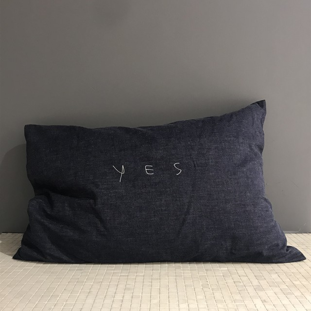 "【SALE ""アトリエ市""】NOWHAW / ""yes no"" pillow #denim"