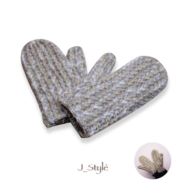 【J-Style】手編み ミトン手袋 ベージュxアッシュグレー