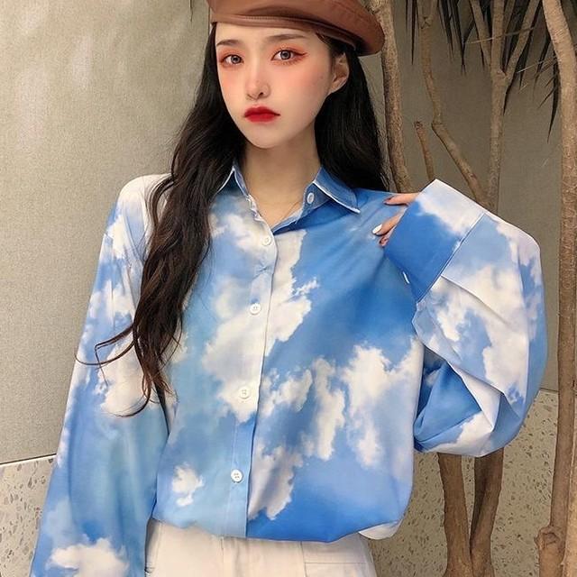 【トップス】韓国系POLOネック長袖グラデーション色シングルブレストシャツ41489790
