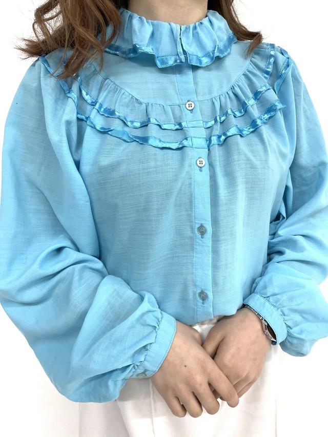 sky blue frill blouse / 3SSTP02-25
